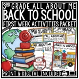 Back to School Activities 3rd Grade- All About Me First Day of School Activities