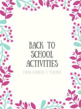 Back To School Activities!