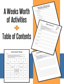 Back To School Activities: First Week Back Set 2