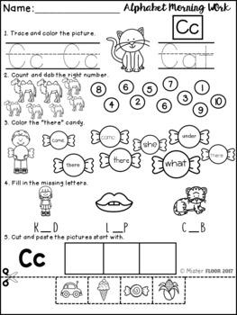Kindergarten Alphabet Morning Work