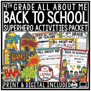 Superhero Theme Back to School Activities 3rd Grade, 4th Grade All About Me