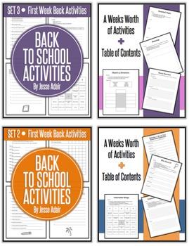Back To School Activities Bundle: First Week Back Bundle 1