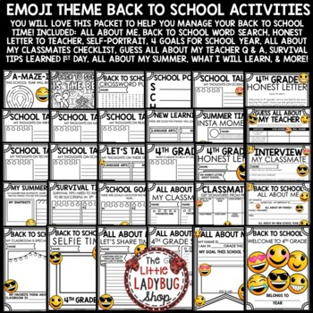 Emoji Back To School Activities 4th Grade- All About Me Poster & More