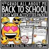 Emoji Back To School Activities 4th Grade- All About Me & First Day of School