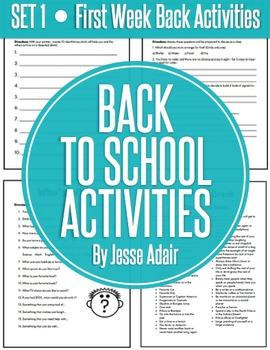 Back To School Activities: First Week Back Set 1