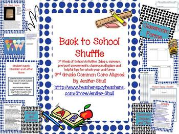 Back To School Activities Ideas, Surveys, Assessments, Displays Grade 3