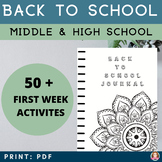 Back To School Activities Middle School & High School ( Mustache Theme)