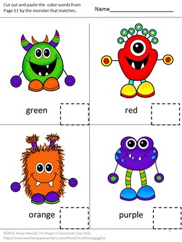Alphabet Monster Uppercase Lowercase Matching Cut and Paste Special Education