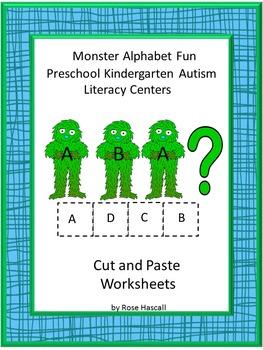 Alphabet Monster Uppercase Lowercase Matching No Prep Cut