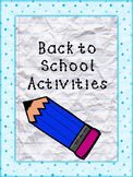 Back To School Activities Packet
