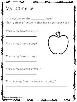 Back To School Activities and Interviews: Freebie /L/ Sound