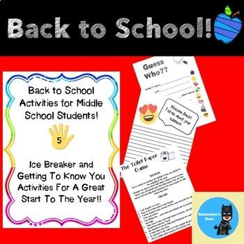 Back To School Activities Middle School & Worksheets   TpT