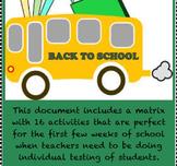 Back To School Activity Matrix