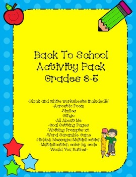 Back To School Activity Pack!