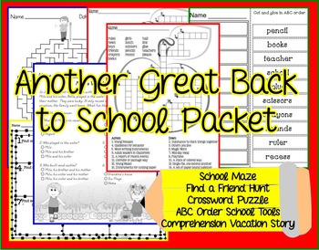 Back To School Activity Pack - Print and Go