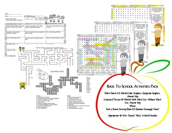 Back To School Activity Pack * Word Search, Crossword, Maze, Scavenger Hunt
