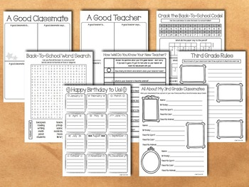Back To School Activity Packet - 3rd Grade