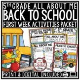 Back to School Activities 5th Grade- All About Me First Day of School Activities