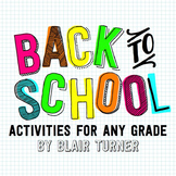 Back To School Activity Packet - ANY GRADE VERSION