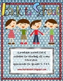 Back To School Activity Packet - Full Version