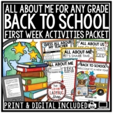 Back To School Activities 3rd Grade, 4th Grade All About Me -First Day of School