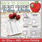 Back To School Activity, Student Introductions, Secret Student Writing