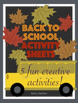 Back To School Activity Sheets. Pack of 5