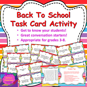 Back to School Task Card Activity * First Week of School Fun For Any Subject