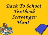 Back To School Activity - Textbook Scavenger Hunt