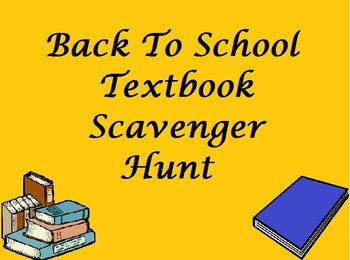 Back To School Activity - Textbook Scavenger Hunt