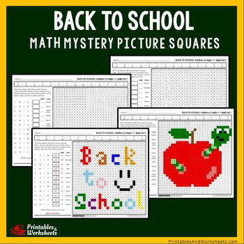 Back To School Addition Practice Math Coloring Worksheets