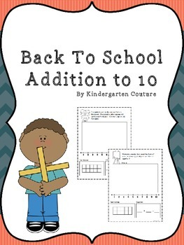 Back To School - Addition Story Problems