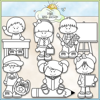 Back To School Again - CU Clip Art & B&W Set