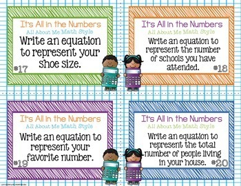Back To School All About Me Math Task Cards