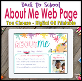 Back To School All About Me Website Templates - Digital and Print