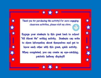 Back To School--All About Me Writing Page (Patriotic Themed)
