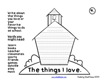 Back To School All About Me Writing Stand Up Schoolhouse