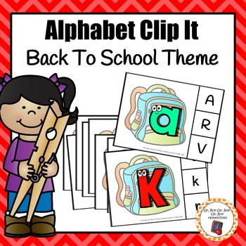 Back To School Alphabet Clip It Cards