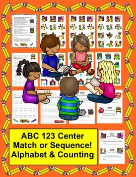Back to School FREEBIE Alphabet & Counting to 20 Literacy Math Center - CCSS