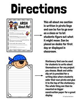 "Back To School ""Argh"" All About Me Poster- Pirate Theme"