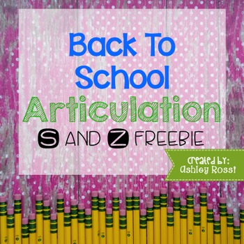 FREE Back To School Articulation for Speech Therapy