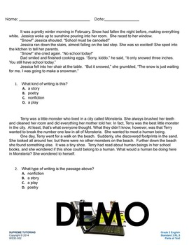 Back To School - Augmented 3rd Grade English Worksheet - Parts of Text
