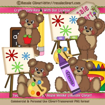 Back To School Bear Boys 1 ClipArt - Commercial Use