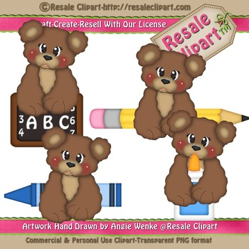 Back To School Bear Boys 2 ClipArt - Commercial Use