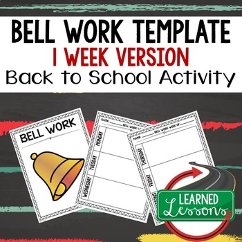 Back To School Bell work, Bellringer, Warm-Up Template