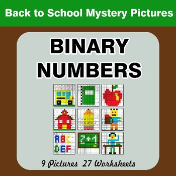 Back To School: Binary Numbers - Mystery Pictures / Color By Number