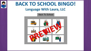 Back To School Bingo! Single Board [speech therapy and autism]