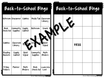 Back-To-School Bingo Game for Classroom Procedures