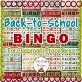 Back-To-School Bingo Game for Classroom Procedures