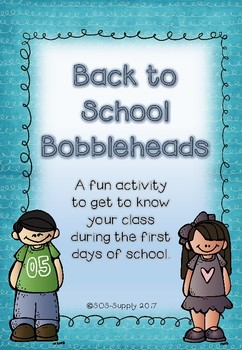 Back To School Bobbleheads - a print and go activity